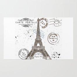 Art hand drawn design with Eifel tower. Old postcard style Rug