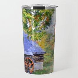 Barn Autumn Landscape Travel Mug