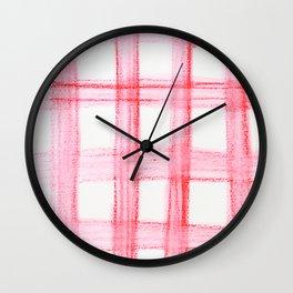 Red Watercolor Buffalo Plaid Wall Clock