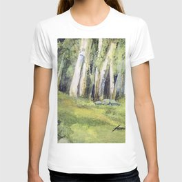 Woodland Landscape Watercolor Vermont Painting Birch Trees Spring Fields T-shirt