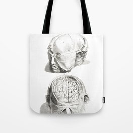 Human Anatomy Art Print HEAD BRAIN SKULL Vintage Anatomy, doctor medical art, Antique Book Plate, Me Tote Bag