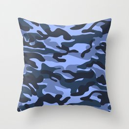 Blue Military Camouflage Pattern Throw Pillow