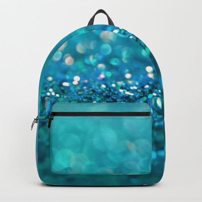 Teal turquoise blue shiny glitter print effect - Sparkle Luxury Backdrop Backpack