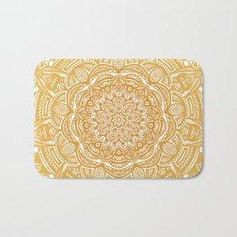Golden Mustard Yellow Orange Ethnic Mandala Detailed Bath Mat