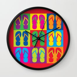 Pop Art Flip Flops Wall Clock