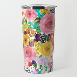 Vibrant Autumn Floral with Turquoise Travel Mug