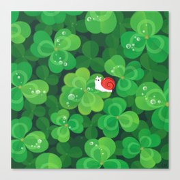 Happy lucky snail Canvas Print