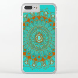 Hand-Drawn Bohemian Mandala Turquoise & Rust Clear iPhone Case