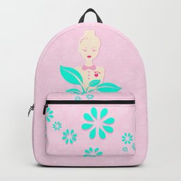 A girl with a top knot. Backpack