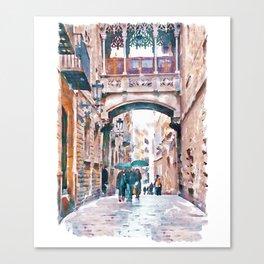 Carrer del Bisbe - Barcelona Canvas Print