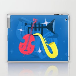 Jazz Composition With Bass, Saxophone And Trumpet Laptop & iPad Skin
