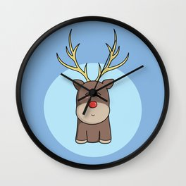 Cute Kawaii Christmas Reindeer Wall Clock
