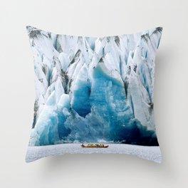 Ride to the Alaskan Glacier Throw Pillow