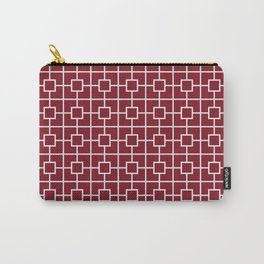 Burgundy Red Square Chain Pattern Design Carry-All Pouch