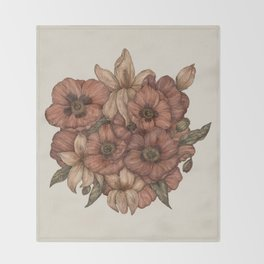 Poppies and Lilies Throw Blanket