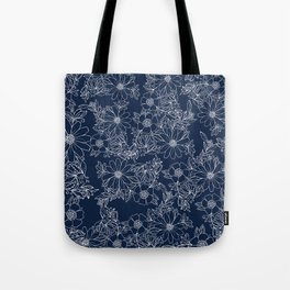 Artistic hand painted navy blue white modern floral Tote Bag