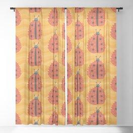Orange Ladybug Autumn Leaf Sheer Curtain