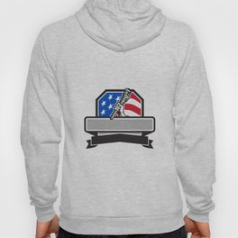 Plumber Hand Holding Pipe Wrench USA Flag Crest Retro Hoody