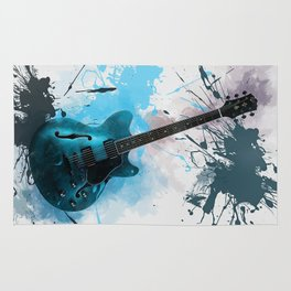 Electric Blue Guitar Rug
