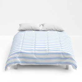 Mattress Ticking Wide Striped Pattern in Pale Blue and White Comforters