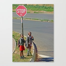 on the way to school Canvas Print