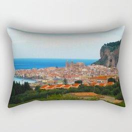 Cityscape of Cefalu Italy Rectangular Pillow