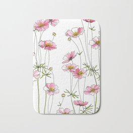 Pink Cosmos Flowers Bath Mat