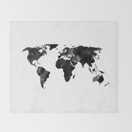 Black watercolor world map Throw Blanket