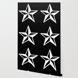 White Tattoo Style Star on Black Wallpaper