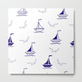 Sailing boats and seagulls seamless pattern, textile, surface pattern Metal Print