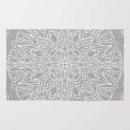 White Mandala on Grey Linen Rug