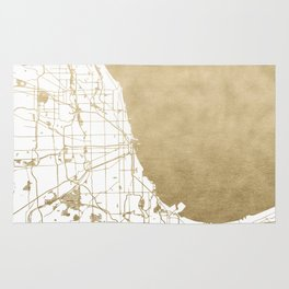 Chicago Gold and White Map Rug