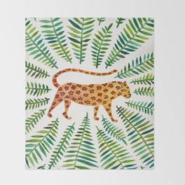 Jaguar – Green Leaves Throw Blanket