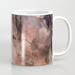 Copper Glitter Stone and Ink Abstract Gem Glamour Marble Coffee Mug