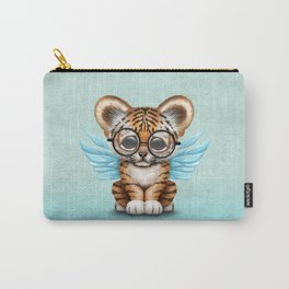 Tiger Cub with Fairy Wings Wearing Glasses on Blue Carry-All Pouch