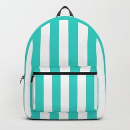 Narrow Vertical Stripes - White and Turquoise Backpack