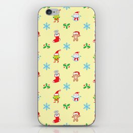 Teddy, mouse elf and snowman Christmas pattern iPhone Skin