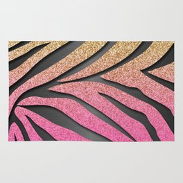 Gold Glitter & Pink Zebra Stripes on Dark Metallic Rug