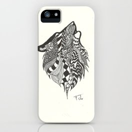 Doodle Howling Wolf iPhone Case