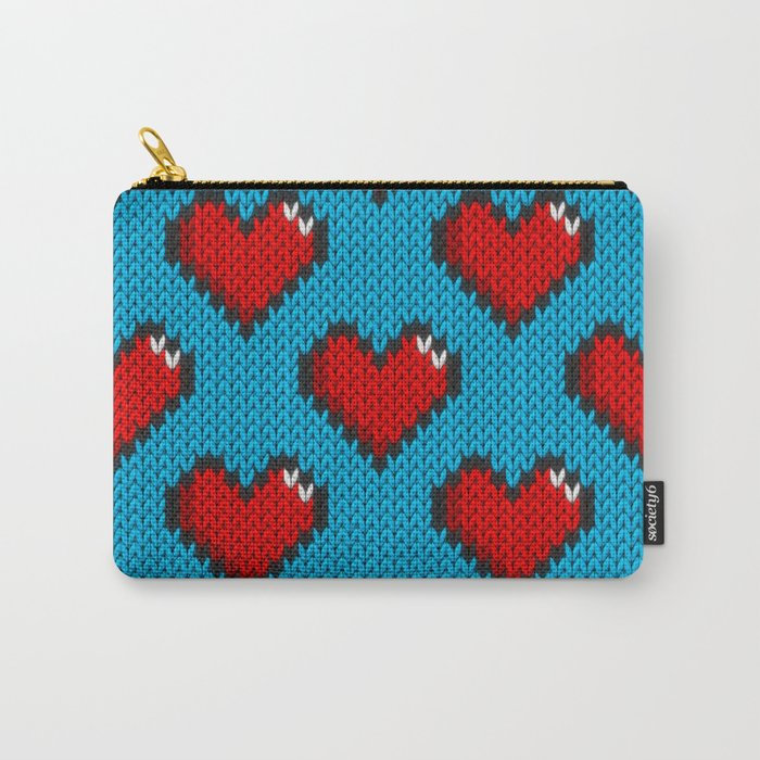 Knitted heart pattern - blue Carry-All Pouch by knittedcake   Society6