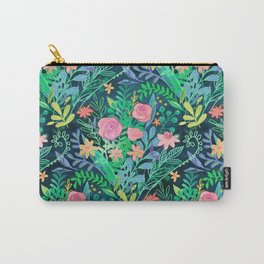 Roses + Green Messy Floral Posie Carry-All Pouch