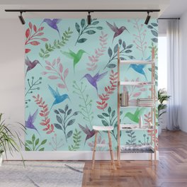 Watercolor Floral & Birds III Wall Mural