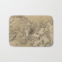 Vintage Boston Revolutionary War Map (1775) Bath Mat