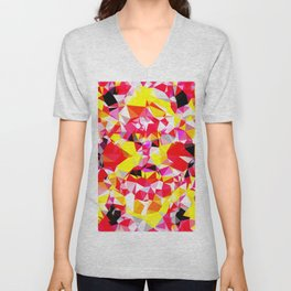 psychedelic geometric triangle polygon abstract pattern in red pink yellow Unisex V-Neck