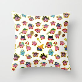 Kirby is swallowing everyone in here. Throw Pillow