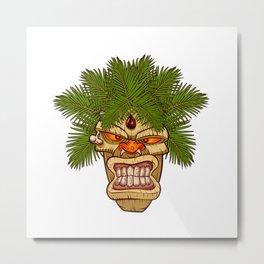 illustration of a tiki totem. Metal Print