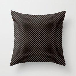 Black and Carafe Polka Dots Throw Pillow
