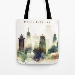 Philadelphia Pennsylvania Watercolor Skyline Tote Bag