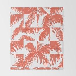 Palm Leaf Pattern Orange Throw Blanket