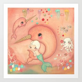 Candy Narwhal Art Print